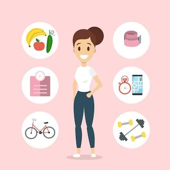Mulher de estilo de vida saudável, com alimentos frescos e exercício.