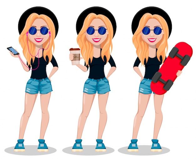 Mulher de hipster. senhora moderna