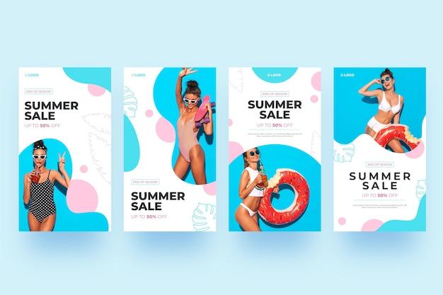 Mulher de histórias de instagram de venda de verão com floatie