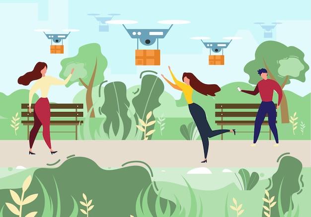 Mulher de homem dos desenhos animados recieve mail air drone delivery