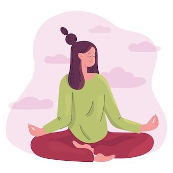 Mulher de ilustração plana orgânica meditando