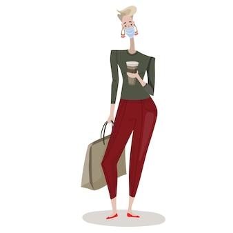 Mulher de ilustração vetorial isolada com pacotes de compras com comida leve humor agradável