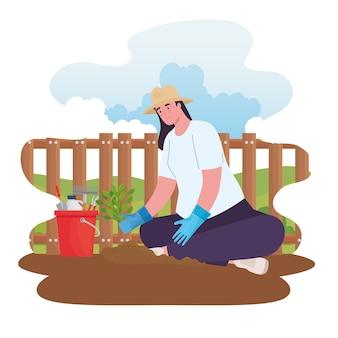 Mulher de jardinagem com balde de ferramentas e projeto de planta, plantio de jardim e natureza