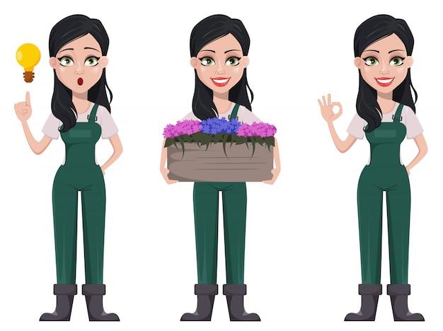 Mulher de jardineiro, personagem de desenho animado em uniforme