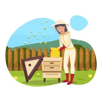 Mulher de macacão e máscara produz mel. vetor.