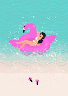 Mulher de maiô branco nadar ilustração
