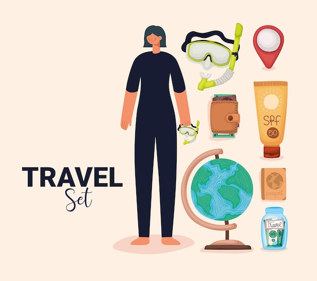 Mulher de maiô e elementos de viagem