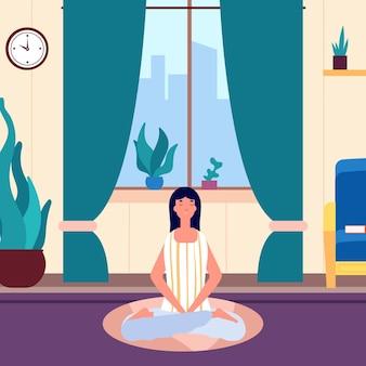 Mulher de meditação. menina, mantenha a calma na sala de estar.