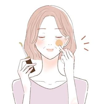 Mulher de meia-idade aplicando corretivo no rosto. sobre um fundo branco.