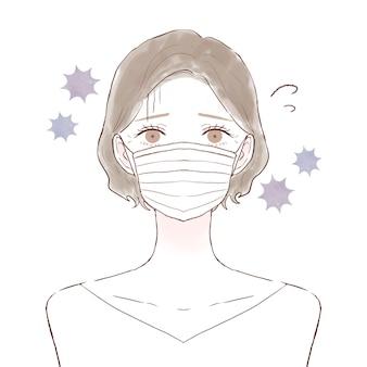 Mulher de meia idade com resfriado, corona e gripe. sobre um fundo branco.