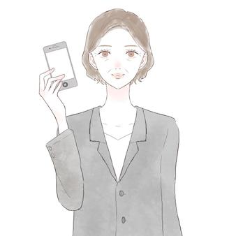 Mulher de meia-idade de terno com um smartphone. sobre fundo branco.