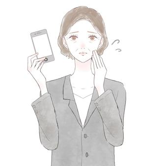 Mulher de meia idade em um terno carente com um smartphone. sobre fundo branco.