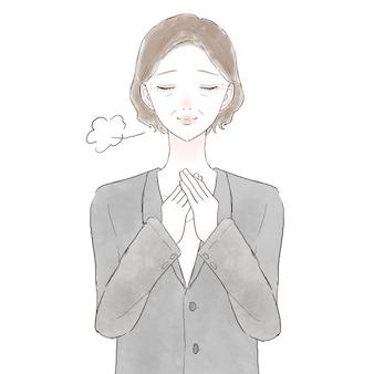Mulher de meia-idade em um terno confortável. sobre fundo branco.