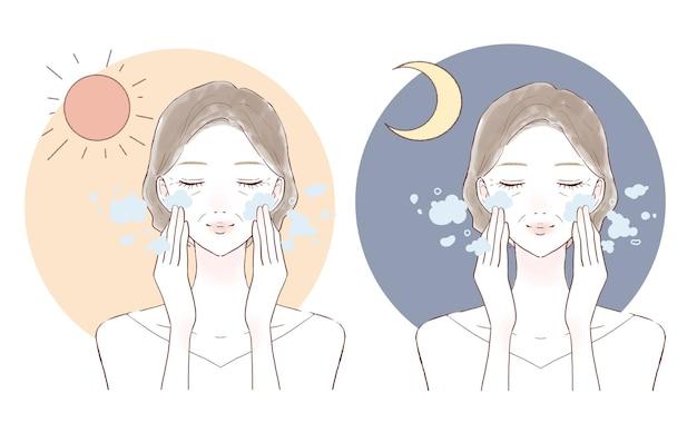 Mulher de meia idade lavando o rosto de manhã e à noite. sobre um fundo branco.