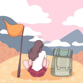Mulher de mochileiro sentada na colina com bandeira, vista da natureza com montanha e nuvem no céu, ilustração plana de estilo de personagem de desenho animado