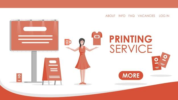 Mulher de modelo de página de destino plana de serviço de impressão mostrando impressão