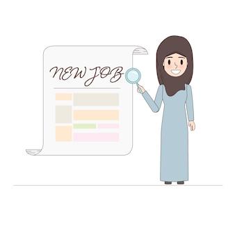 Mulher de negócio árabe que procura um trabalho novo.