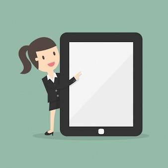 Mulher de negócio com um grande tablet
