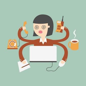 Mulher de negócio que faz tarefas diferentes ao mesmo tempo