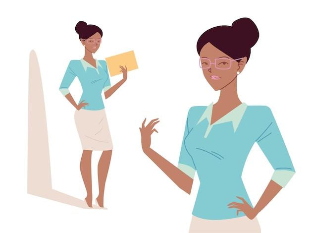 Mulher de negócios afro bonita em diferentes poses
