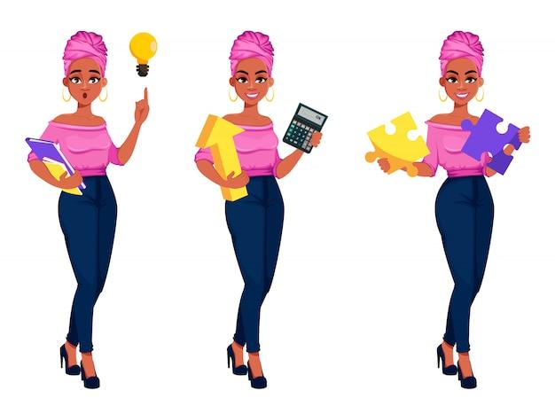 Mulher de negócios americano africano linda jovem