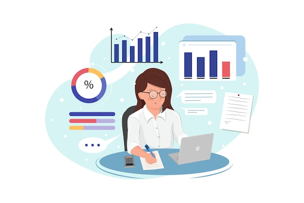 Mulher de negócios analisa dados e faz relatórios contábeis