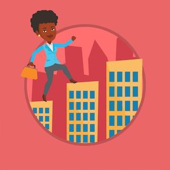 Mulher de negócios andando sobre os telhados dos edifícios.