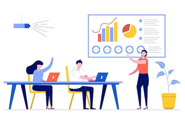 Mulher de negócios apresentando novo projeto para seus sócios e colegas. ela é uma apresentação usando diagrama de pizza e gráficos de colunas em uma sala de reuniões