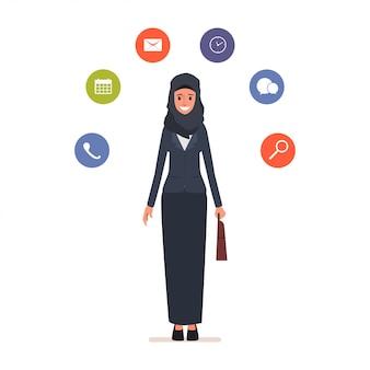 Mulher de negócios árabe de animação