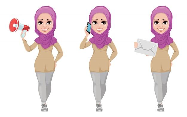 Mulher de negócios árabe, sorrindo, personagem de desenho animado