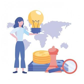 Mulher de negócios avatar cartoon ilustração