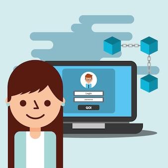Mulher de negócios avatar laptop carteira virtual blockchain