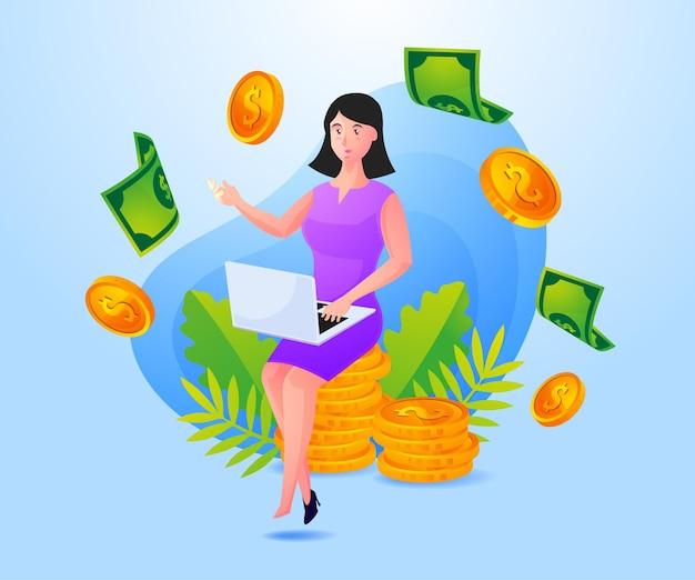 Mulher de negócios bem-sucedida ganha muito dinheiro