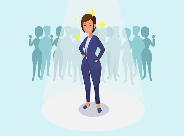 Mulher de negócios bem-sucedida, parabenizando a ilustração de colegas de trabalho