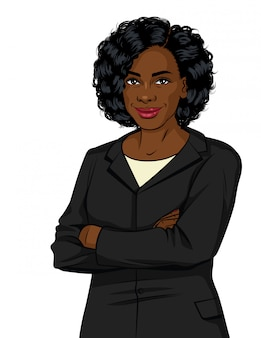 Mulher de negócios bem sucedido no terno do escritório. senhora chefe com os braços cruzados