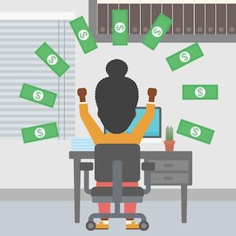 Mulher de negócios bem sucedido sob chuva de dinheiro.