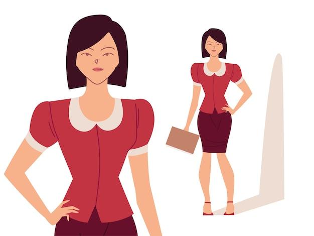 Mulher de negócios bonita em diferentes poses