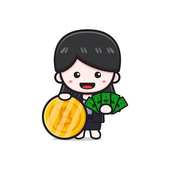 Mulher de negócios bonita segurando dinheiro e ilustração do ícone dos desenhos animados do bitcoin. projeto isolado estilo cartoon plana