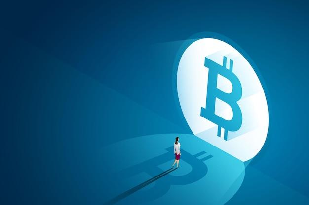 Mulher de negócios caminha para a porta da frente bitcoin concept on-line criptomoeda blockchain technology
