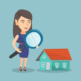 Mulher de negócios caucasiano jovem procura casa.