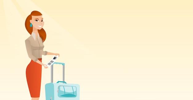 Mulher de negócios caucasiano mostrando etiqueta de bagagem.