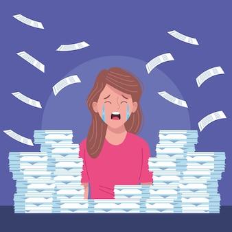 Mulher de negócios chorando desesperada com ilustração de pilha de documentos