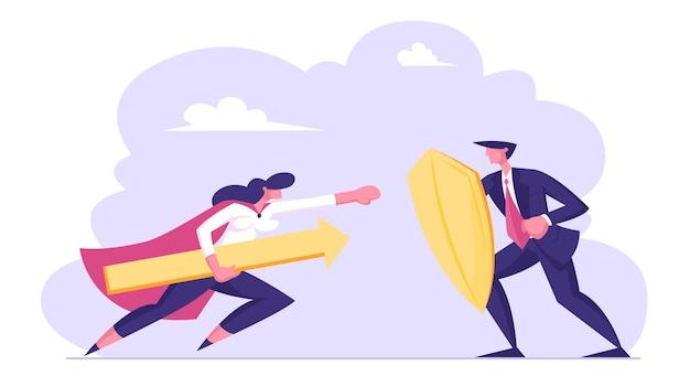 Mulher de negócios com capa de super-herói segurando uma enorme flecha e atacar empresário com escudo