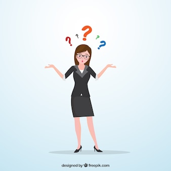 Mulher de negócios com dúvidas