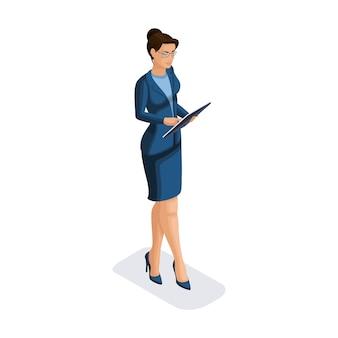 Mulher de negócios com gadgets, jovem empreendedor, olha para um relatório em um tablet, faz uma apresentação, smartphone, faz um vídeo, ilustração