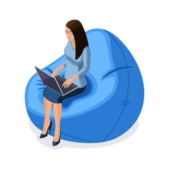 Mulher de negócios com gadgets, jovem empreendedor trabalhando atrás de laptop, sentado em uma cadeira confortável, ilustração