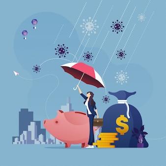 Mulher de negócios com guarda-chuva, protegendo o dinheiro do ataque do vírus corona