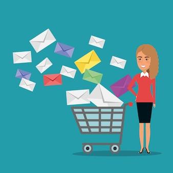 Mulher de negócios com ícones de marketing de e-mail