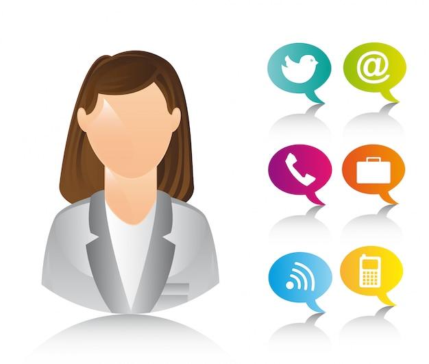 Mulher de negócios com ícones sobre vetor de fundo branco