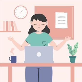 Mulher de negócios com ilustração plana meditando